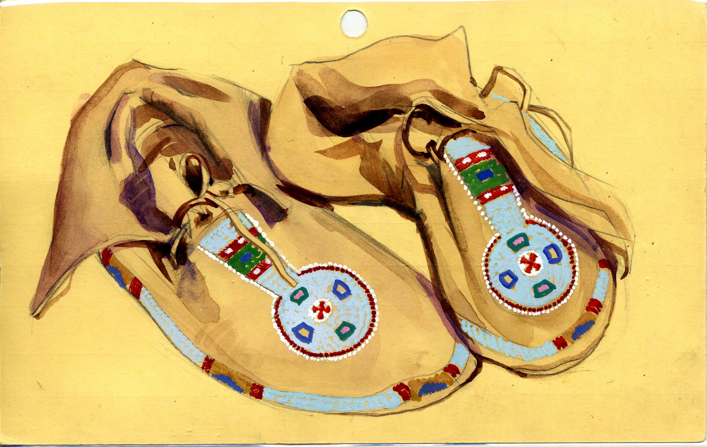 Native american art of colorful shoes.