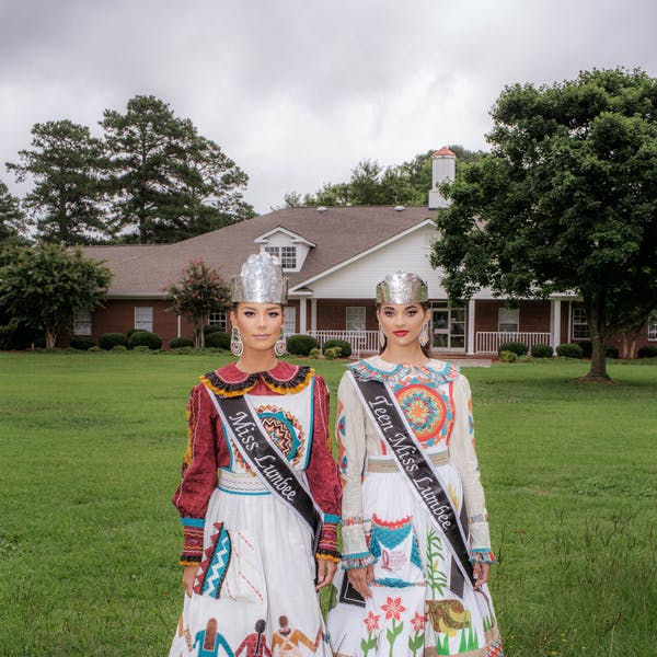 Lyndsey Locklear and Kerigahn Jacobs, after winning the 2018 Miss Lumbee pageant.