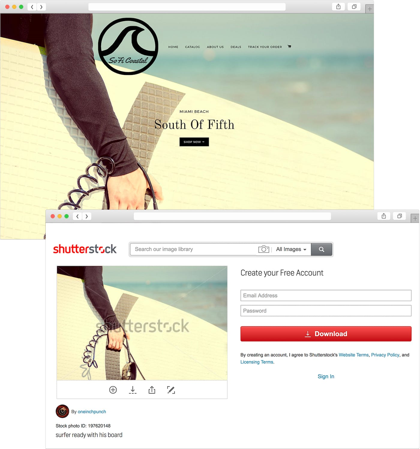 f8e1ea0869 The header image of Soficoastal's site is a royalty-free stock image of a  surfer from Shutterstock. (Folsom and Co.'s header image, meanwhile, ...