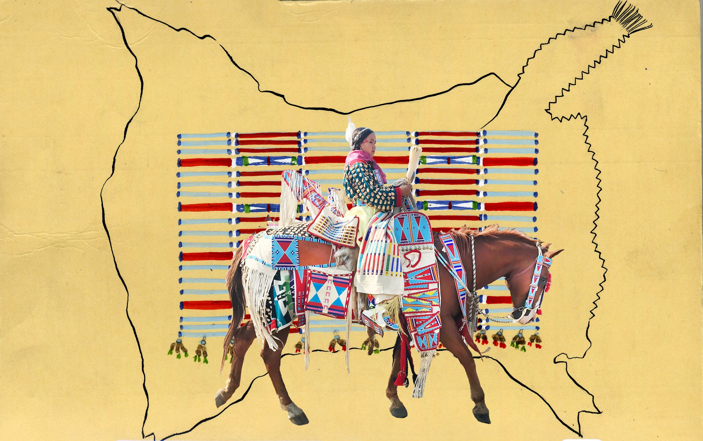 Native american art of a Native American on a brown horse.