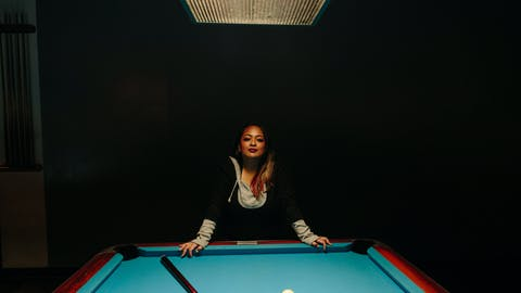 Teen girls pool stick