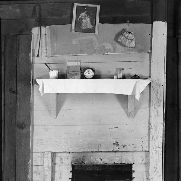 Fireplace in bedroom of Floyd Burroughs' cabin. Hale County, Alabama