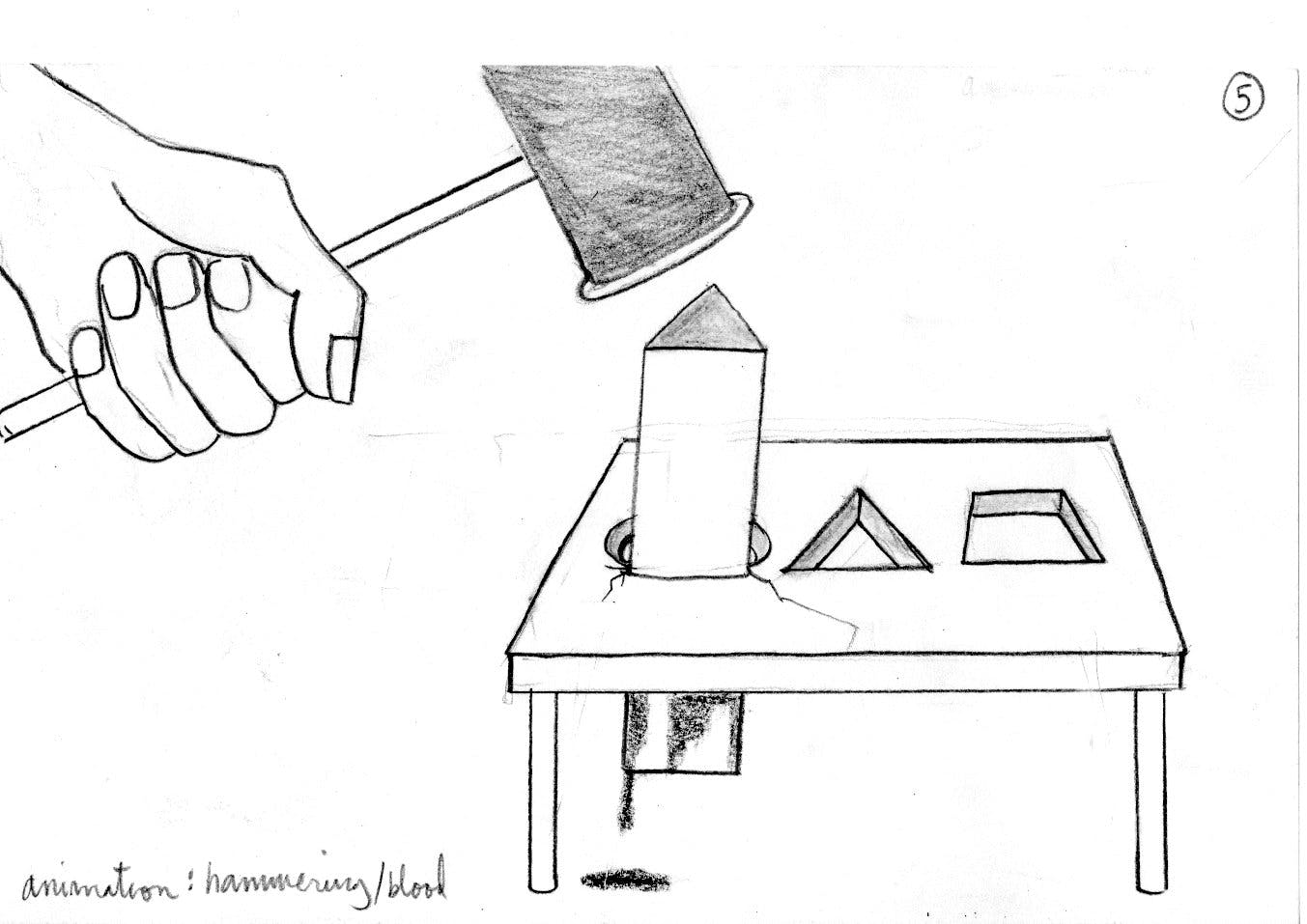 This sketch speaks to the idea of nonconformity, as a triangular peg is hammered through a round hole.