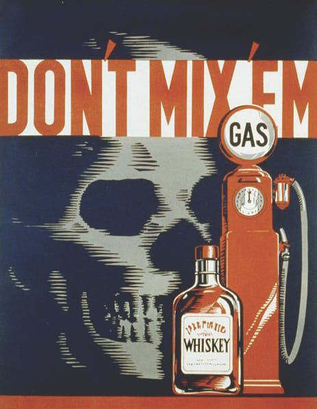 Robert Lachenmann, 1937. WPA public safety poster warning against drinking and driving. 1936-1937