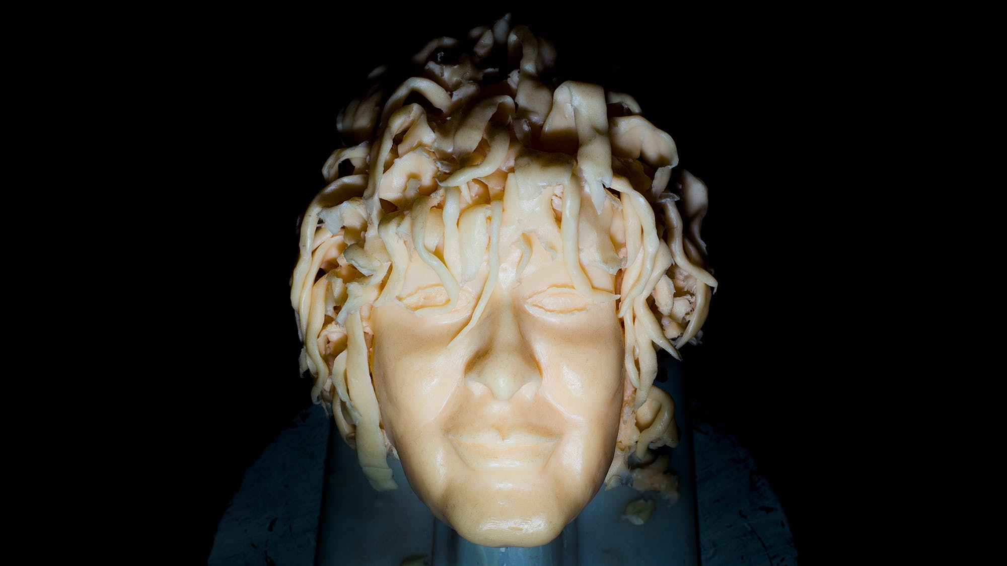 A wax head made by Carlos, a former student of the American Academy McAllister Institute of Funeral Service.